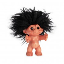 GoodLuckTroll, Rubber/black hair, 12 cm